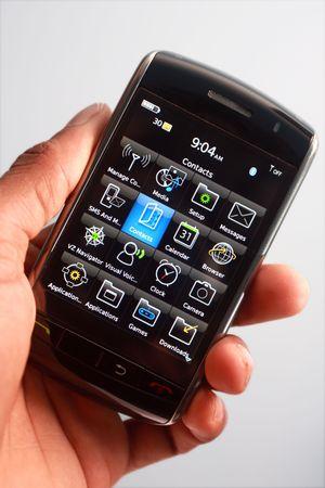 �cran tactile: Touch T�l�phone �cran en main Banque d'images
