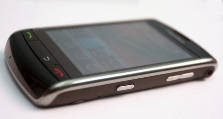 black colour touch screen mobile phone Stock Photo