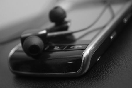 headset on mobile phone Stock Photo