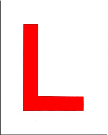 learner: driving L plate