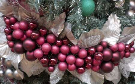 burgundy and silver decorations on a large christmas tree stock photo 8336551