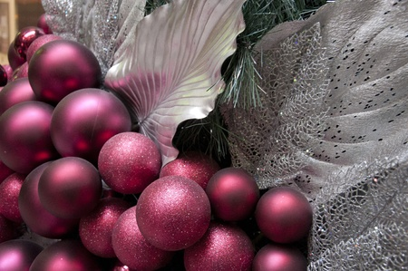 Burgundy and Silver decorations  on a large Christmas tree Stock Photo - 8336552