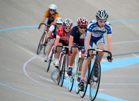 september 2: Calgary, Alberta, Canada - September 2, 2011 - cyclists at Glenmore Athletic Park