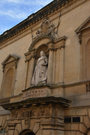 Statue of Queen Victoria above entrance of the Victoria Art Gallery, Bath, England, Oct. 5th, 2017