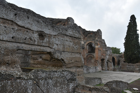 Exterior of Grands Therme Bath House in Hadrian`s Villa, Tivoli, November 26th, 2017
