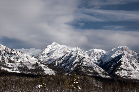 Snow capped mountains in the Rocky Mountains, Alberta, Canada