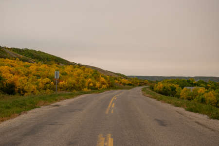 Fall Colours along the roadway in Qu'Appelle Valley, Saskatchewan, Canada.