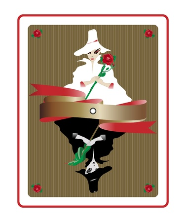 Illustration of white fairy and black witch in form of a playing card.