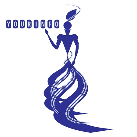 Graceful silhouette of a lady in blue colors. Illustration