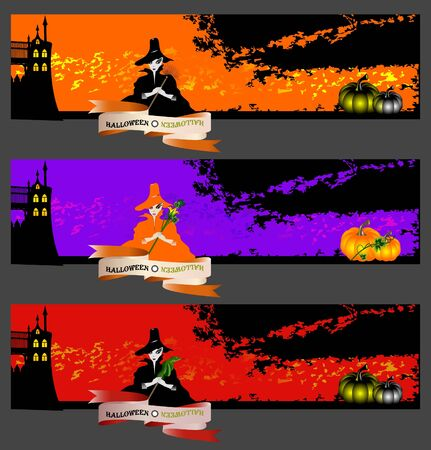 Halloween cards, banners or backgrounds set with pretty witches. Vector