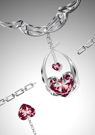 Illustration of an elegant necklace with sparkling ruby hearts, a symbol of love. Vector