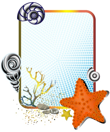 time frame: Sea life in frame with starfish. Illustration