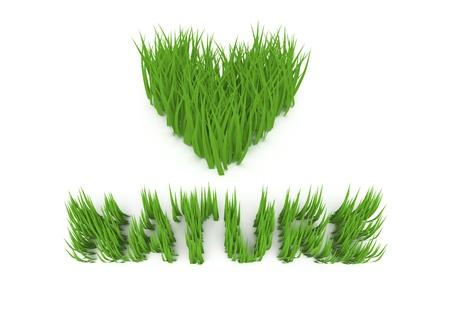 3d grass, love nature slogan.