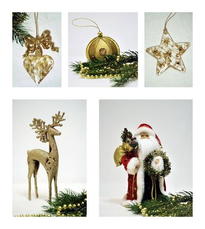Christmas decorations collage of five photos Stock Photo - 10915471
