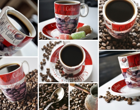 Coffee collage of eight pictures. Coffee time concept. Stock Photo