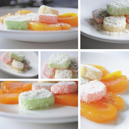 Desserts with turkish delight & persimmon. A set of six backgrounds.