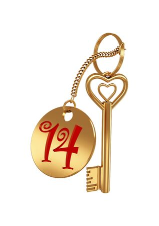 3d golden heart-shaped key isolated on a white background photo