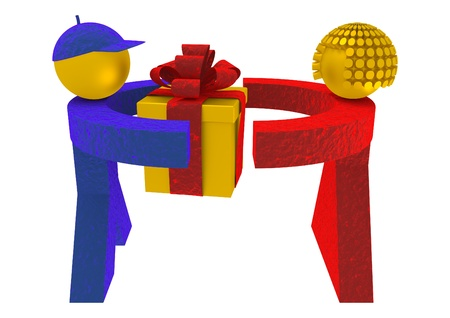3d man and woman holding a present box isolated on white