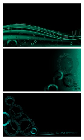 Abstract techno backgrounds set with halftone circles & lines