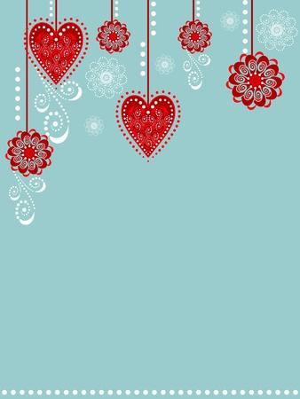 winter flower: Background with hearts and flowers