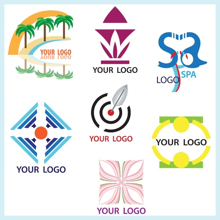 logo marketing: Company style elements and logos isolated on white
