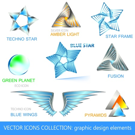 Vector icons, logos and design elements collection Stock Vector - 12483640