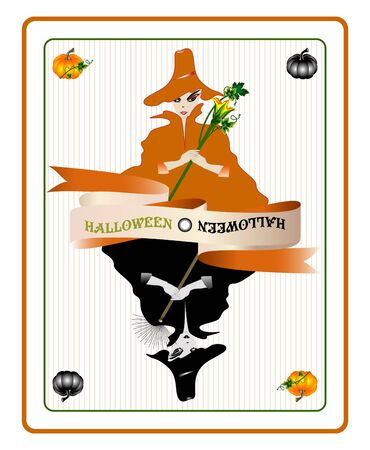 Halloween card with pretty witches