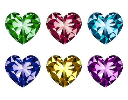 Heart-shaped gems set isolated on a white background Illustration