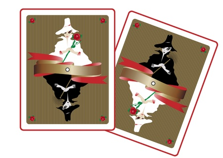 queen of angels: Vector illustration of white fairy and black witch in form of playing cards
