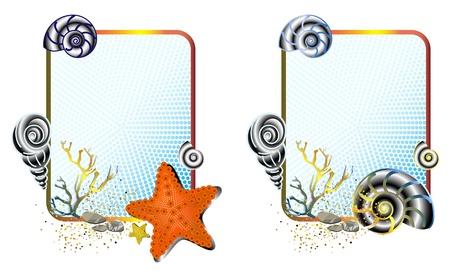 marine life in cute frames Illustration