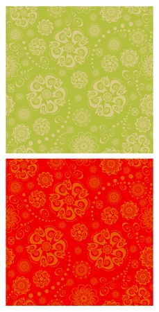 Floral oriental seamless patterns Vector