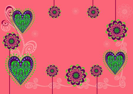 A card or background with flowers and hearts Illustration