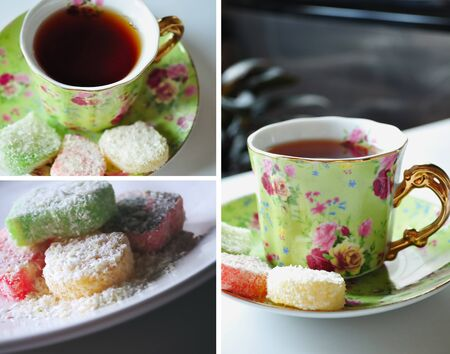 Tea time collage. Romantic & elegant. photo