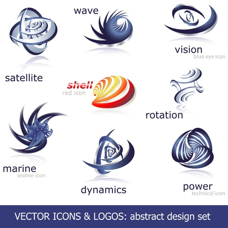 Abstract icons &amp, logos set Vector