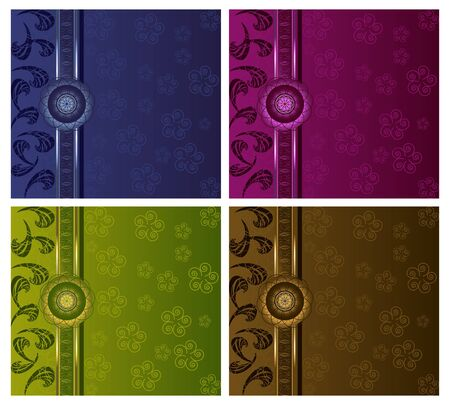 lime green background: Floral luxury backgrounds set Illustration