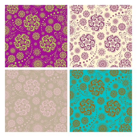 orientalische muster: Floral nahtlose Muster Sammlung Illustration
