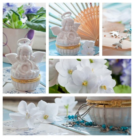 Violets and angels decorations collage