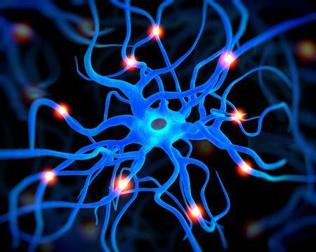 neurona: 3d rindió la ilustración - célula nerviosa