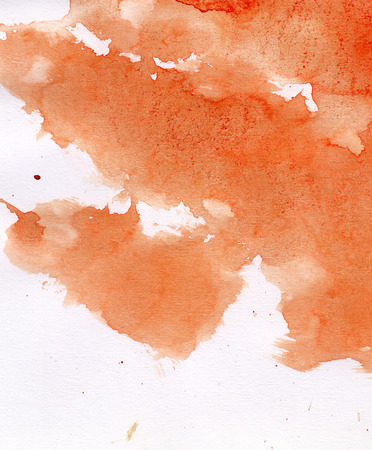 orange colour: abstract background watercolours painting Stock Photo