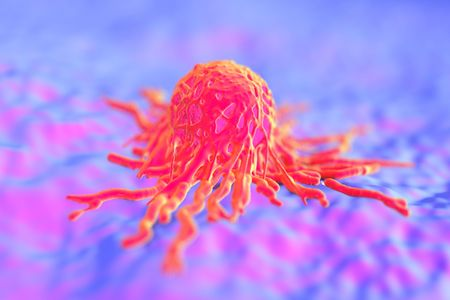 magnified image: cancer cell or tumor illustration in high details