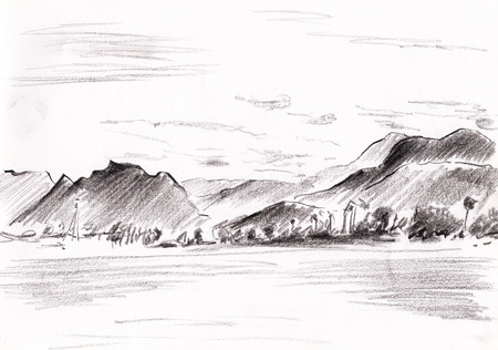 pencil drawing of mountains sketch