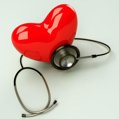 diagnosing: Red heart and a stethoscope is diagnosing  the heart beat