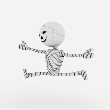 mummified: Halloween cartoon stylish and modern mummy character