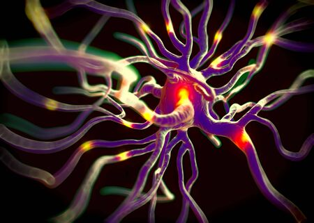 nerve cell: 3d rendered illustration - nerve cell