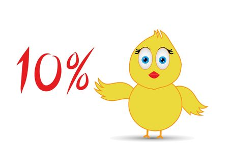 chick with 10%  percentage sign Banco de Imagens