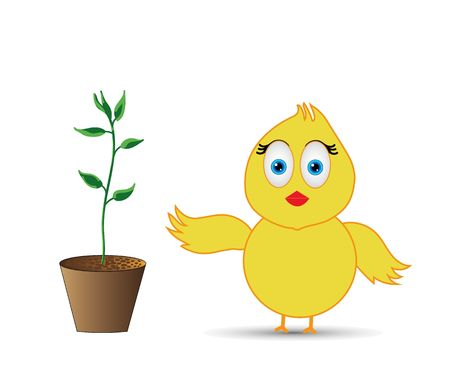 chick standing near the green growing plant Stock Photo