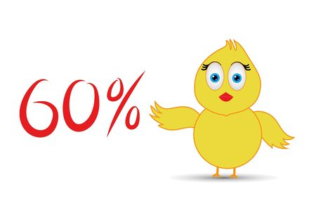 chick with 60%  percentage sign