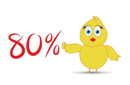 chick with 80%  percentage sign