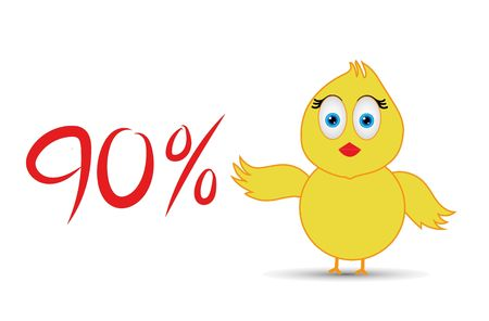 chick with 90%  percentage sign Banco de Imagens