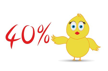 chick with 40%  percentage sign
